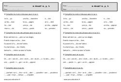 M devant m, b, p - Ce1 - Exercices - Orthographe