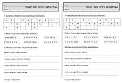 Classer par ordre alphabétique – Ce1 – Exercices à imprimer