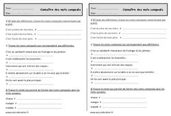Mots composés – Ce1 Exercices de vocabulaire