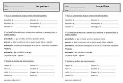 Les préfixes – Ce1 – Exercices de vocabulaire
