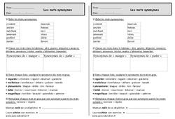 Reconnaître les mots de même sens ou synonymes - Ce1 – Exercices à imprimer