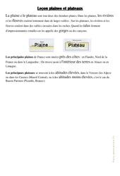 Plaines et plateaux – ce2 – cm1 – Géographie