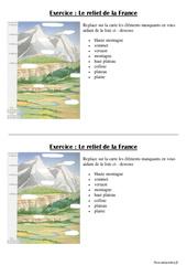 Relief de la France – Ce2 – Cm1 – Géographie – Exercices