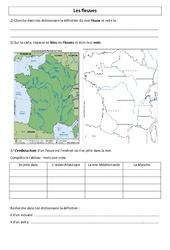 Fleuves de France – Ce2 – Cm1 – Géographie – Exercices
