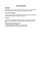 Le métier du géographe - Ce2 - Leçon