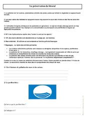 La préservation du littoral – Ce2 – Cm1 – Exercices