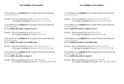 Multiples d'un nombre – Ce1 – Exercices – Calculs – Mathématiques