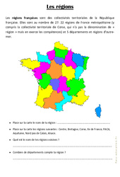 Les régions – Ce2 – Exercices géographie