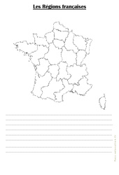 Carte muette des régions - Ce2
