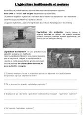 L'agriculture traditionnelle et moderne – Ce2 cm1 cm2 – Exercices