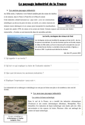Le paysage industriel de la France – Cm1 cm2 – Documents, questions, correction