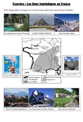Les lieux touristiques en France – Cm1 cm2  – Exercices