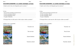 Activités de tourisme en France – Cm1 Cm2 – Evaluation