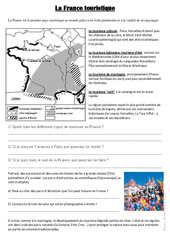 La France touristique – Cm1 cm2 – Document, questions, correction