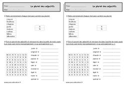 Pluriel des adjectifs – Ce1 – Exercices – Orthographe