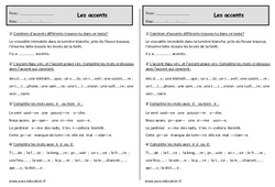 Accents – Ce1 – Exercices – Orthographe
