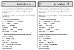 Homophones a – à  – Ce1 – Exercices – Orthographe