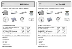 Masses - Ce1 - Exercices de mesures