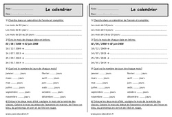 Calendrier – Ce1 – Exercices – Jours, semaines, mois, année