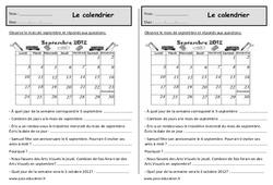 Le calendrier - Ce1 - Exercices à imprimer