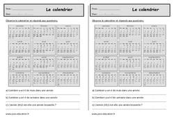 Calendrier - Ce1 - Exercices mesures