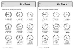 Apprendre à lire l'heure - Ce1 - Exercices