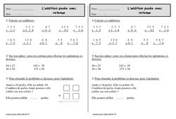 Addition posée avec retenue – Ce1 – Exercices à imprimer