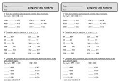 Nombres  jusqu'à 999 – Ce1 – Exercices – Comparer