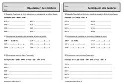Décomposer des nombres - Ce1 - Exercices de numération