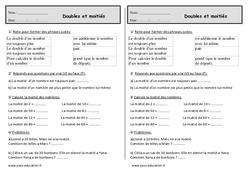 Double et moitié - Ce1 - Exercices de numération