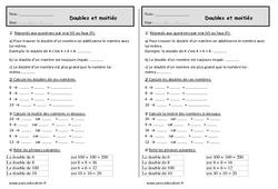Double et moitié - Ce1 - Exercices à imprimer