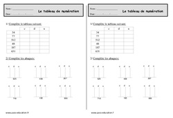 Tableau de numération - Ce1 - Exercices à imprimer