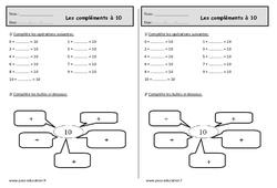 Les compléments à 10 – Ce1 – Exercices de numération