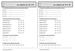 Nombres de 70 à 79 - Ce1 - Exercices à imprimer