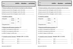 Unités, dizaines, centaines - Ce1 - Exercices à imprimer