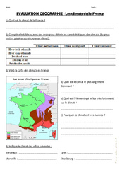Climats en France - Ce2 - Cm1 - Evaluation