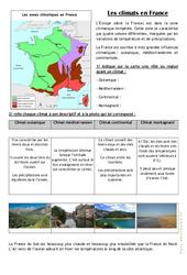 Les climats en France - Ce2 cm1 - Exercices