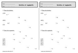 Segments et droites - Ce1 - Exercices à imprimer
