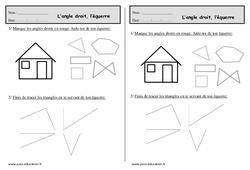 Equerre - Angle droit - Ce1 - Exercices à imprimer
