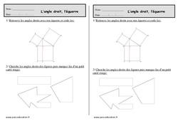 Angle droit - Equerre - Ce1 - Exercices de géométrie