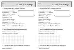 Carré – Rectangle – Ce1 – Exercices de géométrie