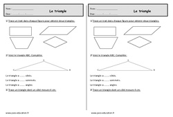 Triangles – Ce1 – Exercices de géométrie