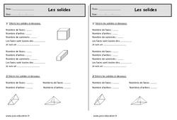 Cubes , pavés, pyramides, cônes, cylindres - Ce1 - Exercices sur les solides
