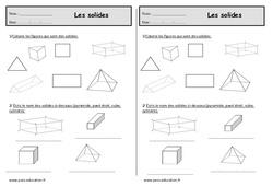 Solides - Ce1- Exercices de géométrie