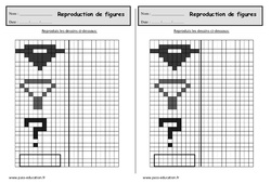 Reproduire un dessin sur quadrillage - Ce1 - Exercices