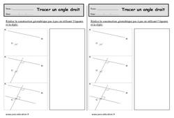 Tracer un angle droit - Ce1 - Exercices