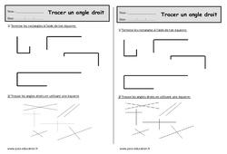 Angle droit - Ce1 - Exercices géométrie à imprimer