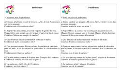 Problèmes - Ce1 Cycle 2 - Exercices calcul    - 2 - Mathématiques