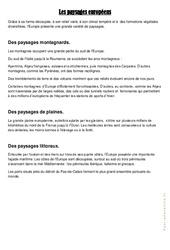 Les paysages européens – Cm1 cm2 – Leçon géographie cycle 3