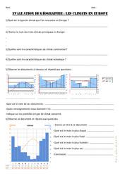 Climats en Europe – Cm1 cm2 – Evaluation